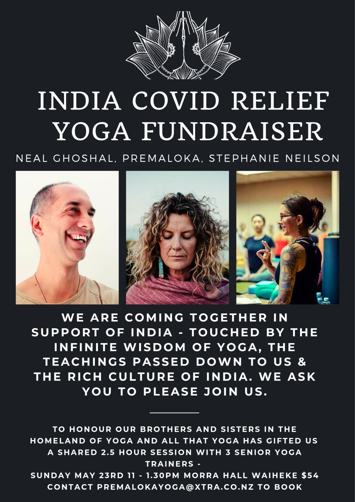 Covid Relief for India Yoga Fundraiser Flyer